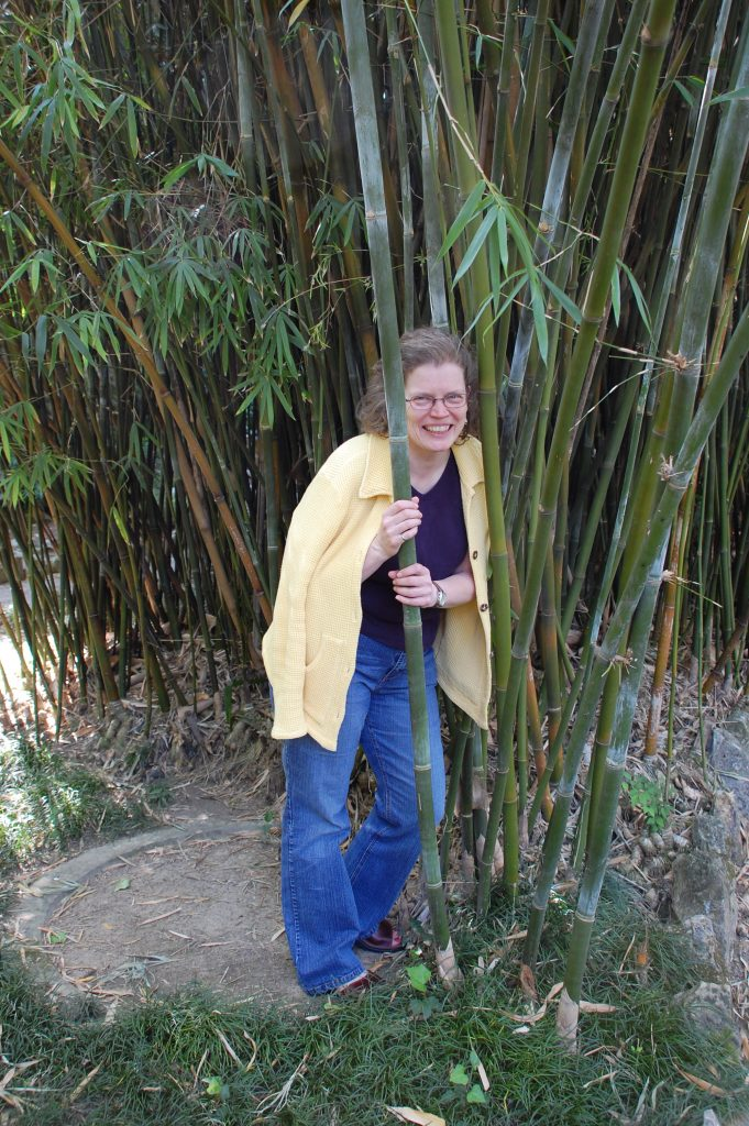 Susan channelling her inner panda at the Jardim Botánico.