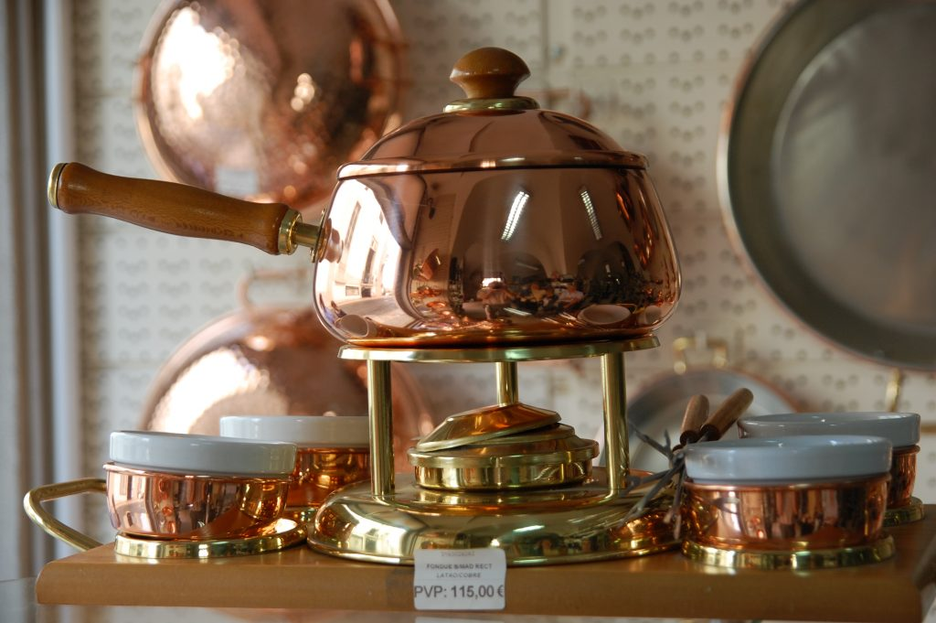 Tin-lined copper fondue pot. There is quite a long story (too long for this description) behind this photograph.