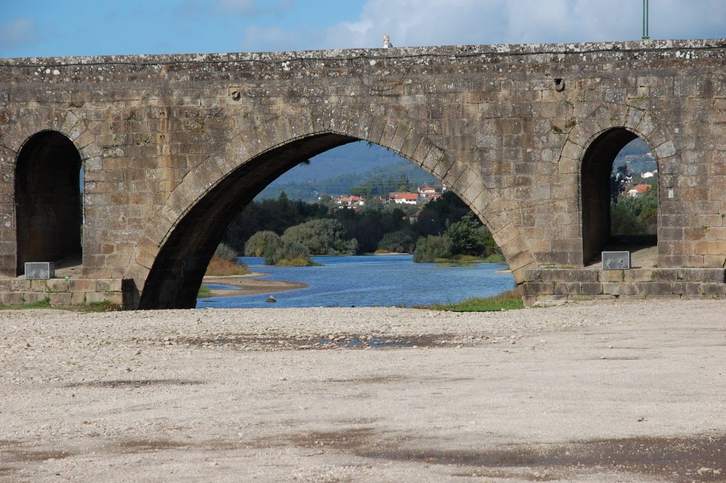 Part  of the ponte at Ponte de Lima. This portion is part of the medieval section, finished in 1370. The Roman portion (see later photographs) was built in the 1st century, CE.