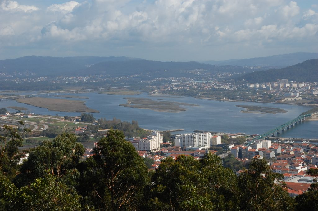 Two bridges span the Lima. A great view from he Templo de Santa Luzia (looking southeast).  The small city of Viana do Castelo is shown in part.