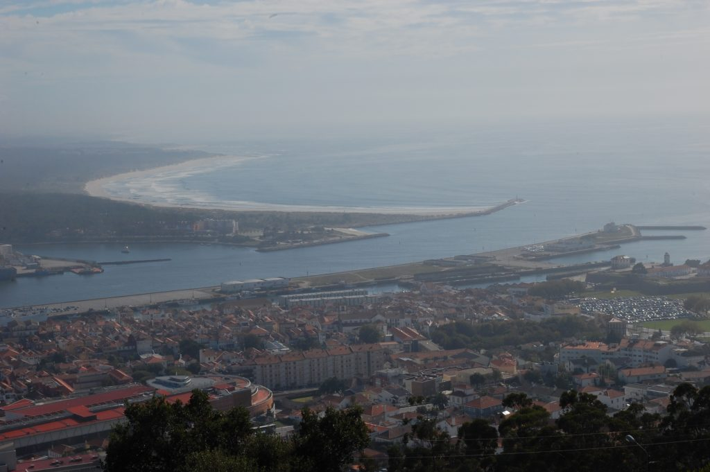Lima meets the Atlantic. Hazy, but worth remembering.  A great view from he Templo de Santa Luzia (looking southwest).  The small city of Viana do Castelo is shown in part.