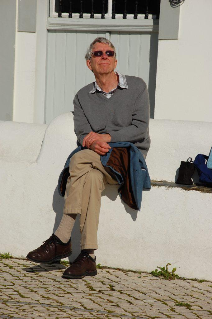 Enjoying the sun in Vila Nova de Milfontes after almoço at Tasca do Celso.