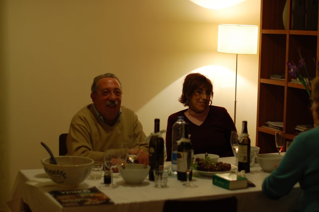 João e Helena. Near the end of  the dinner party we held for our oldest friends (in time!) in Portugal.  You can tell it is near the end, because the port is on the table!