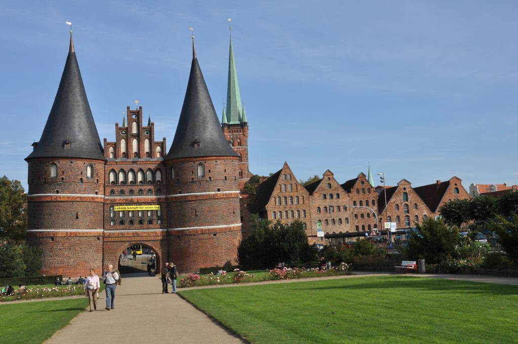 Holstentor, with salt storehouses in  Lübeck.
